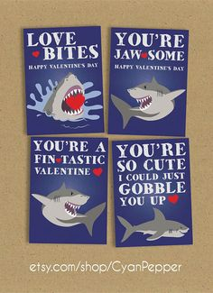 INSTANT DOWNLOAD Printable Classroom Valentine 4 pack Shark Themed Punny Kid's Valentine's by CyanPepper on Etsy