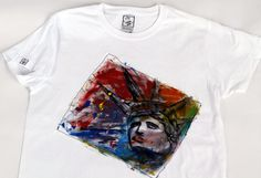 Handmade Hand Painted Liberty In Colours Tshirt by TheFingermade, Liberty, Finger, Hand Painted, Colours, Mens Tops, T Shirt, Handmade, Painting, Etsy