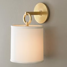 """Full Circle Wall Sconce Designer details abound in this round back wall sconce with bold suspended ring detail. Matte Silver, Old Bronze or Aged Brass with silk shade and glare diffuser. 75 watts medium socket. (14""""Hx8""""Wx8.75""""D) Backplate: 4.75"""" round. Shade: 7.5""""x8""""x8.5"""""""