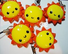 happy cute kawaii sun polymer clay charm.  cutieexplosion