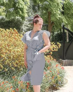 An oxford cotton, button-down, wrap dress with a low-V neckline, flared sleeves, 2 front pockets, mid-calf length and ribbon belt A loose-fitting, neoprene crop top with a low V-back and thin strap #effortless #style #australia #wrapdress #grey Ribbon Belt, Cotton Fabric, Wrap Dress, Oxford, Neckline, Australia, Pockets, Crop Tops
