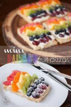 Mini Rainbow Fruit Pizzas transform flaky puff pastry, sweetened mascarpone, & fresh fruit into a colorful sweet treat perfect for breakfast or dessert.