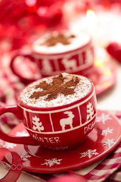 Cups with hot chocolate for Christmas day. - Christmas decorated cups with hot chocolate for holidays.