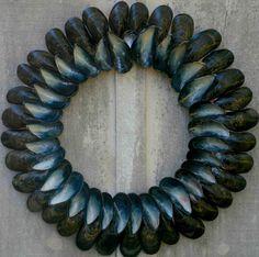 The Bluebird - mussel shell wreath -