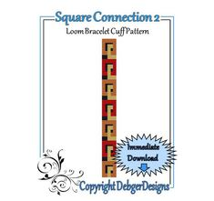 Square Connection 2  Loom Bracelet Cuff Pattern por LoomTomb, $4.50