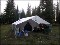 Outside kitchen, with extra tarp wall protection Wall Tent, Outdoor Gear, The Outsiders, Camping, Kitchen, Campsite, Cooking, Kitchens, Cuisine