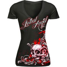 Lethal Threat Floral Skull Short Sleeve Womens Casual Motorcycle T-Shirt