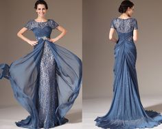 Custom Made New Short-Sleeves Lace Evening Dress Mother of bride dress (26141505)