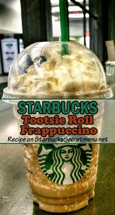 Relive a childhood treat with the Starbucks Tootsie Roll Frappuccino! Frappuccino Recipe, Starbucks Frappuccino, Frappe, Starbucks Coffee, Starbucks Hacks, Starbucks Secret Menu Drinks, Secret Menu Items, Coffee Recipes, Drink Recipes