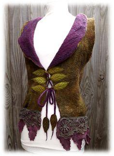 Fairytale Forest Vest medium to large - Faerie Costume up 36 to 40 inches - Pixie coat - Felt Coat- vintage lace vest - size medium Nuno Felting, Needle Felting, Faerie Costume, Fairy Costumes, Moda Medieval, Lace Vest, Fairy Dress, Vintage Lace, Faeries
