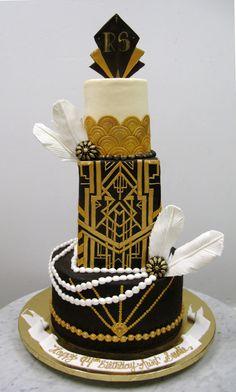 Gorgeous black and gold art deco wedding cake. Gatsby Party, Gatsby Wedding, Art Deco Wedding, Wedding Cake Designs, Wedding Cakes, 1920s Party, Wedding Ideas, Art Deco Cake, Cake Art
