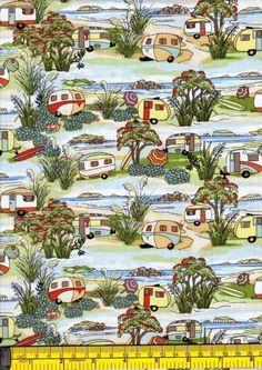 Retro Caravans - Kiwiana - New Zealand Fabrics - Kiwiquilts Cotton Quilting Fabric, Cotton Quilts, Star Wars Fabric, Retro Caravan, Patchwork Cushion, Kiwiana, Disney Winnie The Pooh, Dachshund Dog, Cool Pets