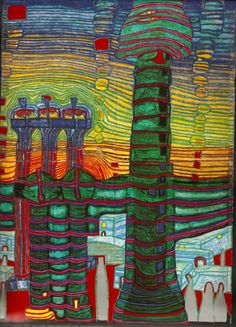 007 End of Greece by Friedensreich Hundertwasser ▫ 1964 Graffiti Kunst, Modern Art, Contemporary Art, Friedensreich Hundertwasser, Guache, Expressive Art, Gustav Klimt, Kandinsky, Pablo Picasso