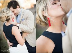 Aislinn Kate Photography | engaged | getting married | engagement portraits | bride and groom | red earrings | nautical chic | prep style | tan suit