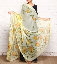 Yellow Hand Painted Chiffon Dupatta by Ekatvam