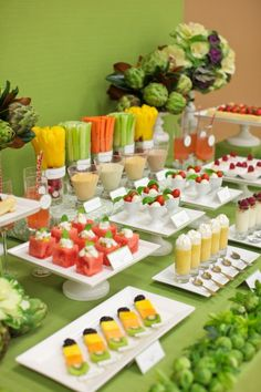 Fruit/Vegi Display: Watermelon Salad, Yogurt Parfaits, Caprese Salad, Pumpkin Latte Shots, Fruit Tarts, Vegi Sticks and Fruit Kabobs. {Swoon}