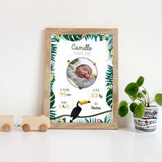 Affiche personnalisée naissance - thème tropical Baby Born, Pop Up, Cover, Frame, Buffet, Books, Tropical, Diy, Babies