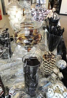 Dark and Delightful Black and White Candy Buffet Wedding Forums Candy Table, Candy Buffet, White Candy Bars, 70th Birthday Parties, Birthday Table, Birthday Ideas, Black Dessert, Black White Parties, Gold Candy