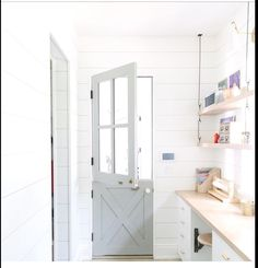 Barn door in laundry