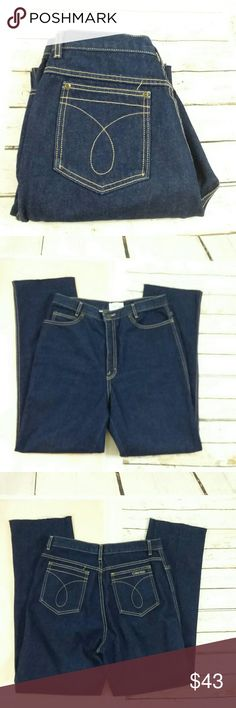 "VINTAGE CALVIN KLEIN MOM JEANS SIZE 14 This is a great pair of Calvin Klein mom jeans. These jeans are vintage and they are a size 14. They are a dark wash and I believe the first picture is the only one that does not reflect the color of the wash. These jeans have been cut off and a little Frayed on the bottoms. I'm going to provide measurements as vintage size 14 has certainly changed this day and age. Measurements : 32 inch waist. 13 inch Rise. Inseam is 30.5"". Calvin Klein Jeans"