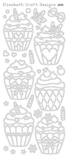 Cup Cakes Peel Off Stickers Black. A great way to customize your craft and art projects! Use Peel Off Stickers on greeting cards, scrapbooking, stationary, cand Colouring Pages, Adult Coloring Pages, Coloring Books, Stencils, Paper Art, Paper Crafts, Elizabeth Craft Designs, Parchment Craft, Digital Stamps
