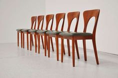 Peter Chairs by Niels Koefoed in teak and green leather 1958 | From a unique collection of antique and modern dining room chairs at http://www.1stdibs.com/furniture/seating/dining-room-chairs/