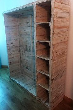 This recycles pallets made closet is another extraordinary, beautiful-looking but simple pallets innovation. We have used wood pallets for its creation but before using these pallets it is important to clear them properly and smartly created different size cabins in it to provide you best wooden closet at your home.