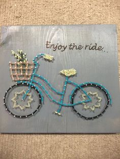 Enjoy the ride. Enjoy the little things. Bicycle String Art Bicycle String Art Enjoy the Ride by EveryStringAttached on Etsy Bicycle String Art, Bicycle Art, Nail String Art, String Crafts, String Art Patterns, Paper Embroidery, Wood Art, Art Projects, Arts And Crafts