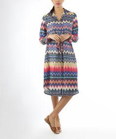 Love this Blue & Yellow Zigzag Tie-Waist Shirt Dress on #zulily! #zulilyfinds