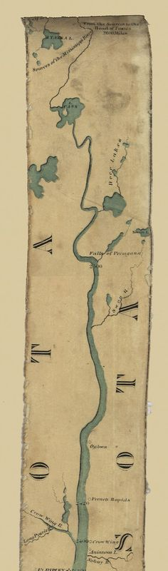 """Start at the top and scroll down this long 1866 """"ribbon map"""" of the Mississippi River. It shows forts, settlements, cities, tributaries and plantations."""