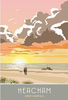 Hracham Beach Sunrise Victor Brauner, Norfolk Broads, Beach Sunrise, Beach Posters, Portrait Pictures, Art Uk, Environmental Art, Vintage Travel Posters, British Isles