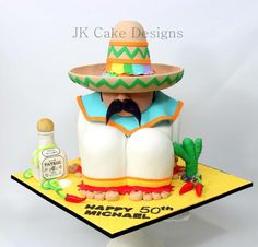 Mexican themed birthday cake , sombrero tequila