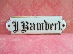 Vintage Ceramic H. Bamberl Name Plate by 5and10vintage on Etsy