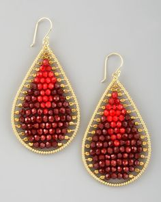 """Nakamol $65  Beaded Teardrop Earrings, Red/Brown  $65.00    These Nakamol earrings feature bright golden teardrops and light-catching crystal beading that frame your face with light, offering your complexion a subtle glow.  Yellow golden teardrops.  Crystal beads.  French wire backs.  2""""L."""