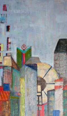 36 x 60 Painting using encaustic and collage.  Part of my new cityscape series playing with shapes and colors.  @lorrakurtz