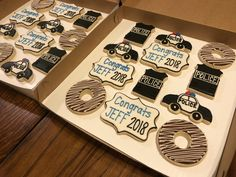 Police sugar cookies for a retirement party! Chocolate donut anyone? Taste and see that the Lord is good! Thanks for choosing Cristin's Cake Creations for your custom cookie order! Police Retirement Party, Police Party, Retirement Cards, Retirement Parties, Retirement Planning, Templates Printable Free, Printables, Party Checklist, Homemade 3d Printer