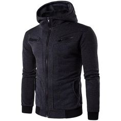 Mens Fashion Hoodies Solid Color Buttons Pockets Casual Zipper Sport Hooded Tops