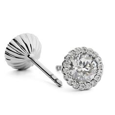 Cannele Diamond Earrings - available with 15pt centre stones up