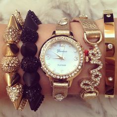 Gold Watch and Bracelets - Love - Spikes - Black