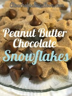 A delicious cookie that is super fun to eat.  Bite off each snowflake arm and then eat the yummy chocolate! Peanut butter and chocolate is always a perfect combination. The perfect cookie for the winter season to share with family and friends.   #cookies #winter #christmas #christmascookies #recipe #peanutbutter #chocolate #atouchofsaltandlove #winter Winter Desserts, Christmas Desserts, Easy Desserts, Dessert Recipes, Christmas Cookies, Holiday Treats, Peanut Butter Blossoms, Peanut Butter Cookies, Chocolate Peanut Butter