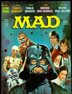 Origional Mad Magazine, Star Wars Edition, January Awesome cover art and interior comics. Comic Book Covers, Comic Books, Mad Magazine, Magazine Covers, Magazine Rack, Magazine Design, Ec Comics, Marvel Comics, Culture Pop