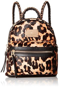 Juicy Couture Black Label Calf Hair Printed Mini Backbag with Gold Chain Detailing, Leopard print