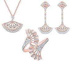 Prism Jewel Carat Natural Round Diamond Designer Hand Fan Style Jewelry Set Crafted In Gold Jewelry Sets, Jewelry Accessories, Fine Jewelry, Jewelry Design, Filigree Jewelry, Diamond Jewelry, Pendant Set, Diamond Pendant, Fashion Necklace