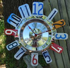 Vintage Ford Hubcap Clock License Plate ClockMan by dables on Etsy