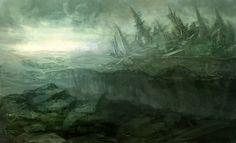 Další těžební zařízení na jižní polokouli, zahalené v toxické mlze, unikající z poškozeného Molocha. Environment Design, Sci Fi, Scenery, Anime, Fantasy, Landscape, Dark, Inspiration, Painting