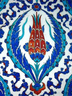 Tulip Motif on the Porcelain Tiles of Rüstem Pasha Mosque, Istanbul, Turkey by Remzsinas Islamic Motifs, Islamic Tiles, Islamic Art, Turkish Tiles, Turkish Art, Empire Ottoman, Turkish Design, Decorative Tile, Ceramic Art