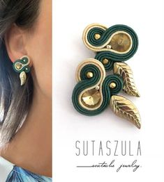 Excited to share the latest addition to my shop: Small green clip on earrings Soutache Earrings summer trend green gold emerald earrings soutache ohrringe. Tiny Stud Earrings, Emerald Earrings, Cluster Earrings, Bridal Earrings, Bead Earrings, Crystal Earrings, Clip On Earrings, Green Earrings, Soutache Tutorial