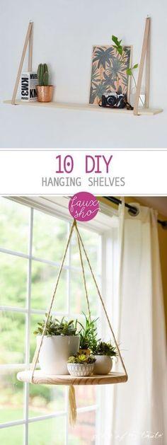 10 DIY Hanging Shelves