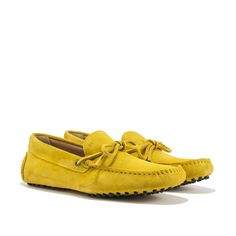 M' Driving Shoes in Yellow suede with exposed hand-made stitching, hot-stamped M' and resistant studded black rubber outsole. Made in Portugal