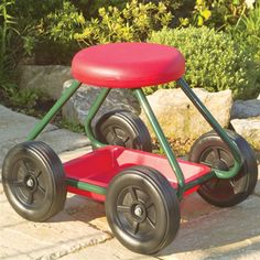 Garden Stool on Wheels - Wheeled Garden Seat with Tool Tray